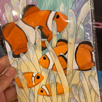 5x7 Clown Fish Family Print