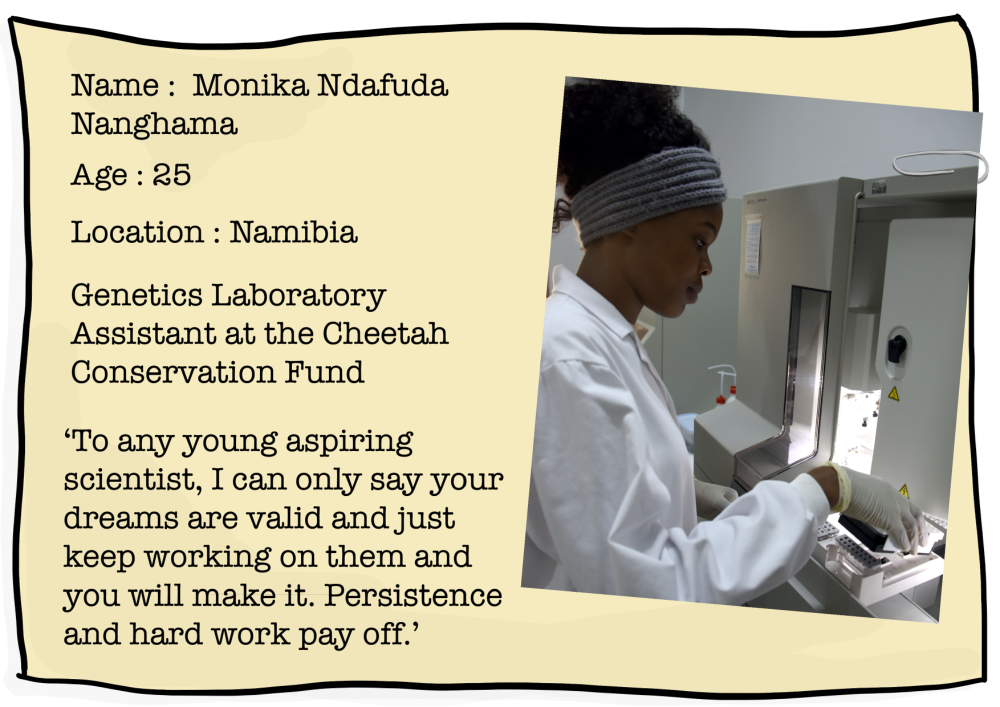 Fact file image showing Monika working in a laboratory