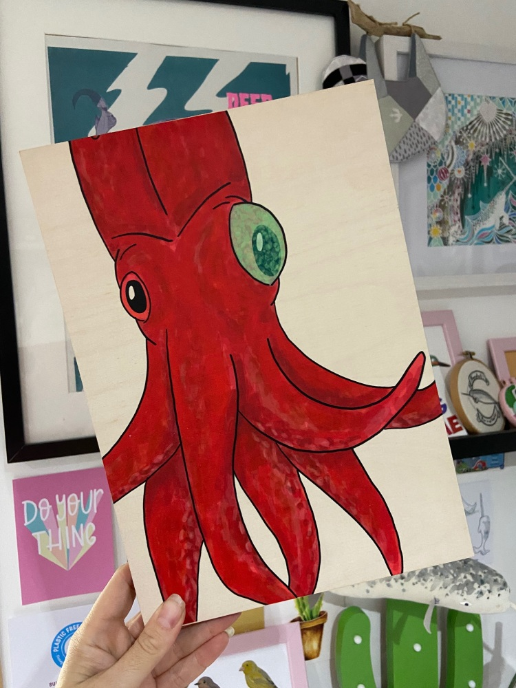 Cockeyed Squid Wooden Print