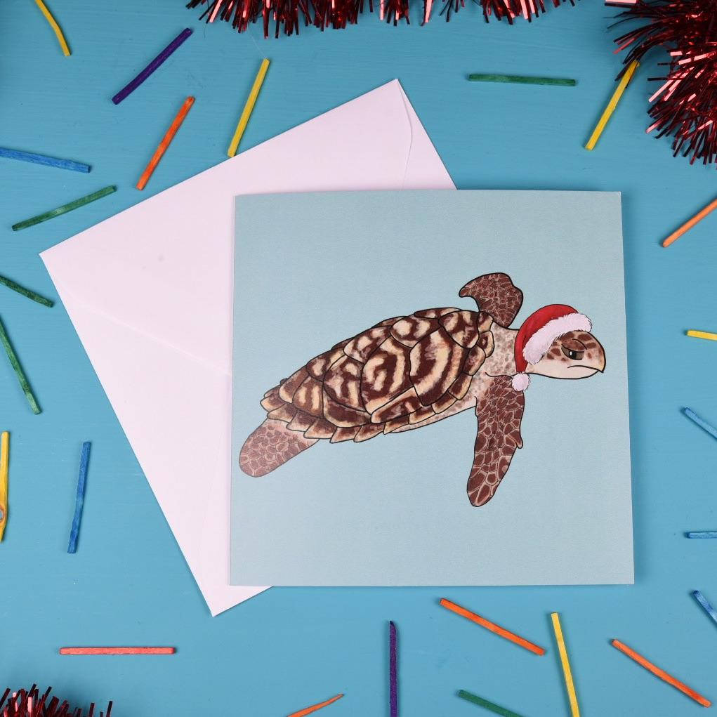 Hawksbill Turtle Christmas Card