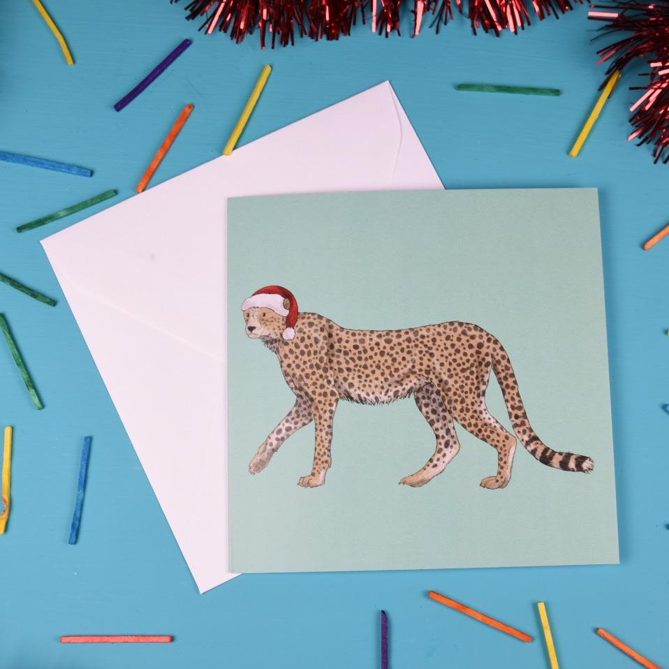 Cheetah Christmas Card