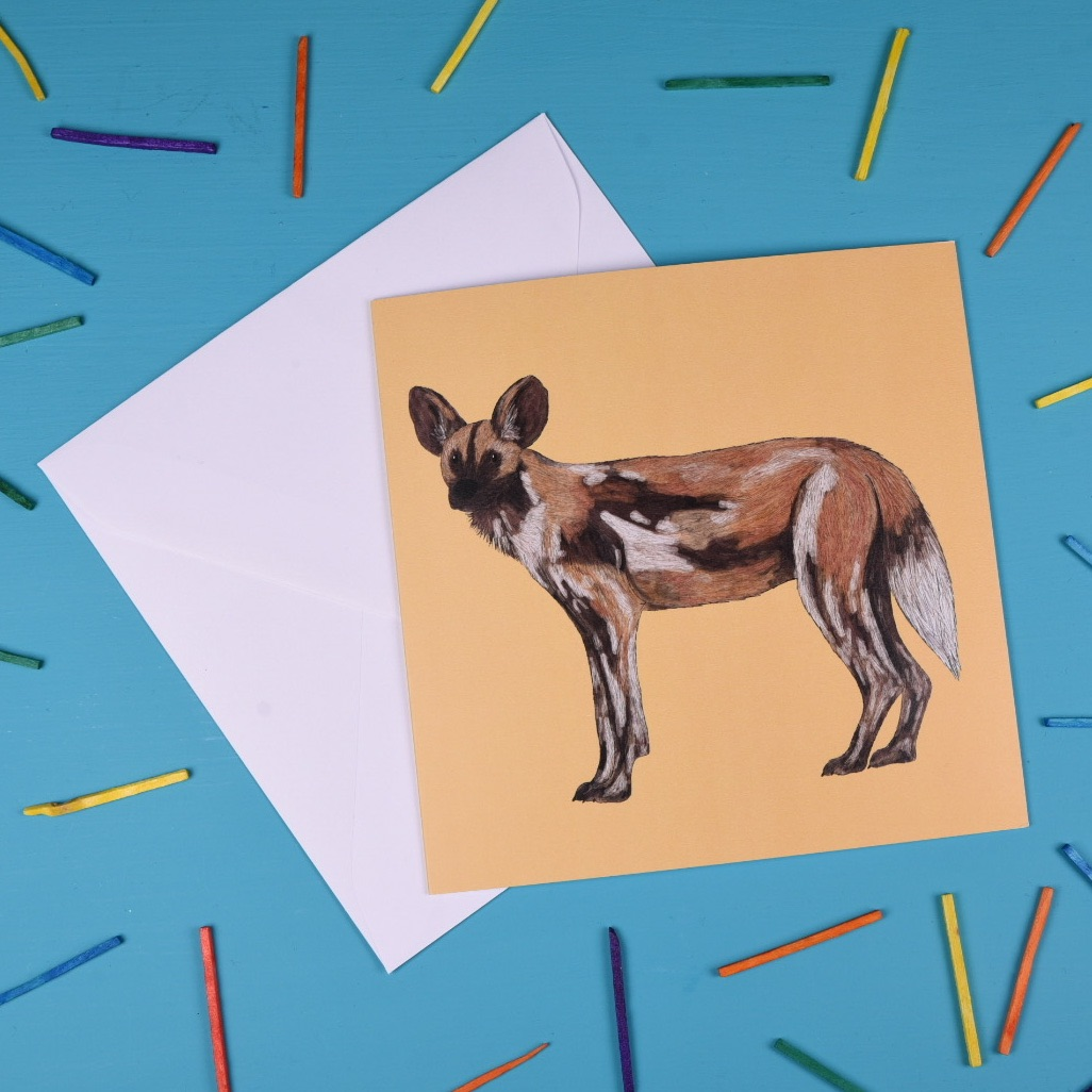 Painted Dog Greetings Card