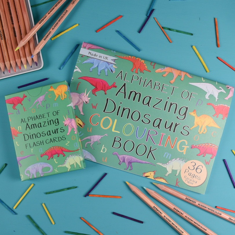 Alphabet of Amazing Dinosaurs Flash cards and Colouring Book