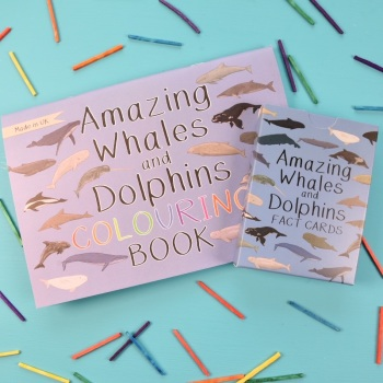 Amazing Whales and Dolphins Fact Cards and Colouring Book