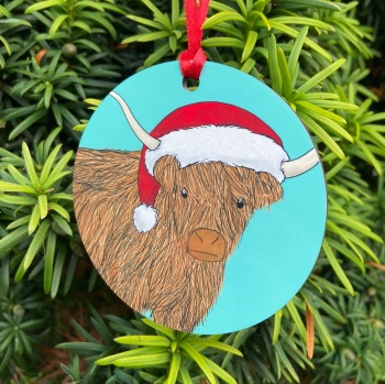 Highland Cow Christmas Decoration