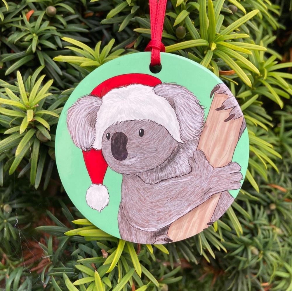 Koala on Green Christmas Decoration