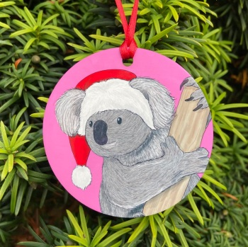 Koala on Pink Christmas Decoration