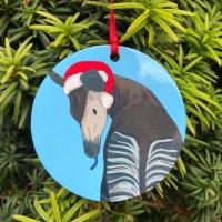 Okapi on Blue Christmas Decoration