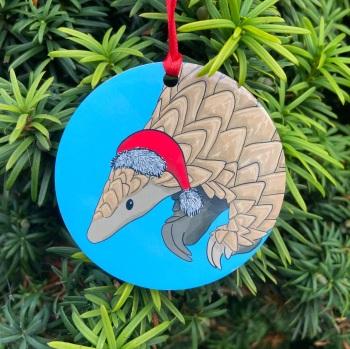Pangolin on blue Christmas Decoration