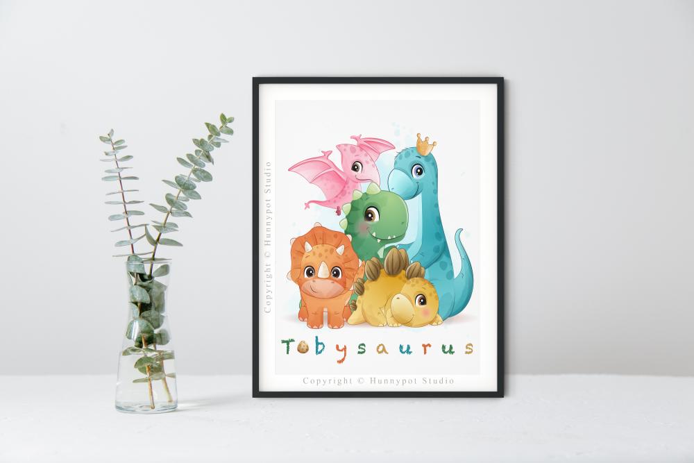 Name-saurus Dinosaur Print