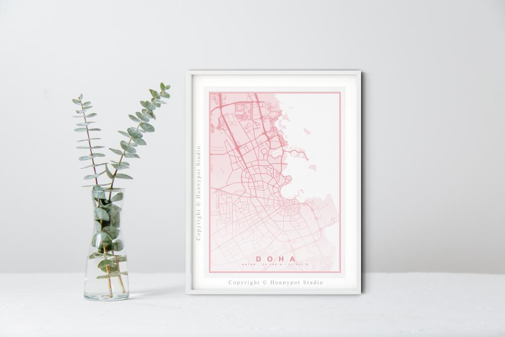 Doha Map Print