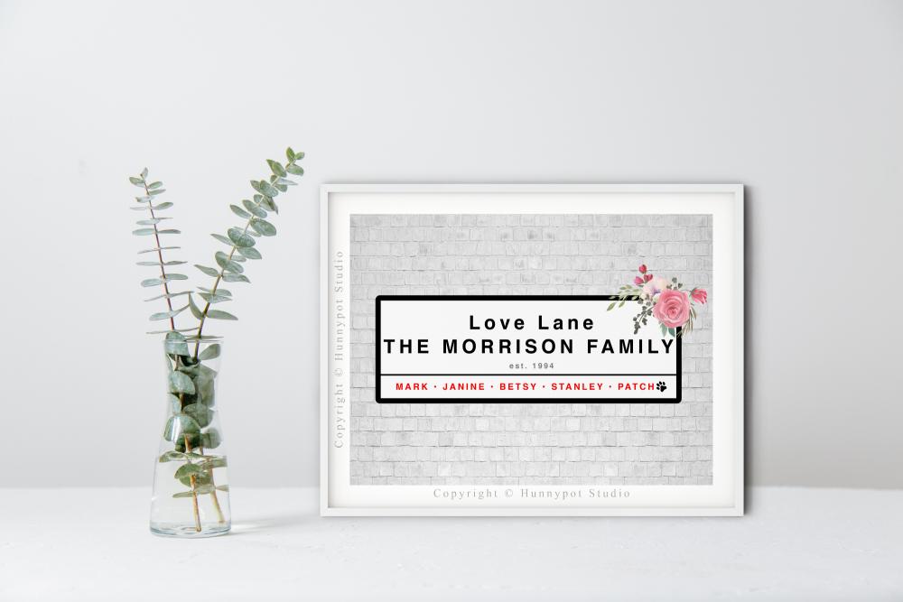 Love Lane Streetsign Print