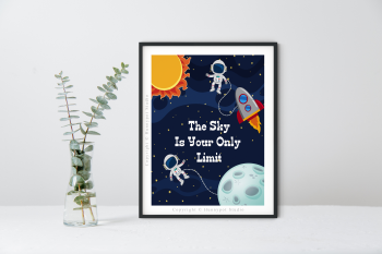 Astronaut Sun & Moon Quote Print