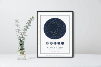 Anniversary/Wedding Personalised Star Map Print