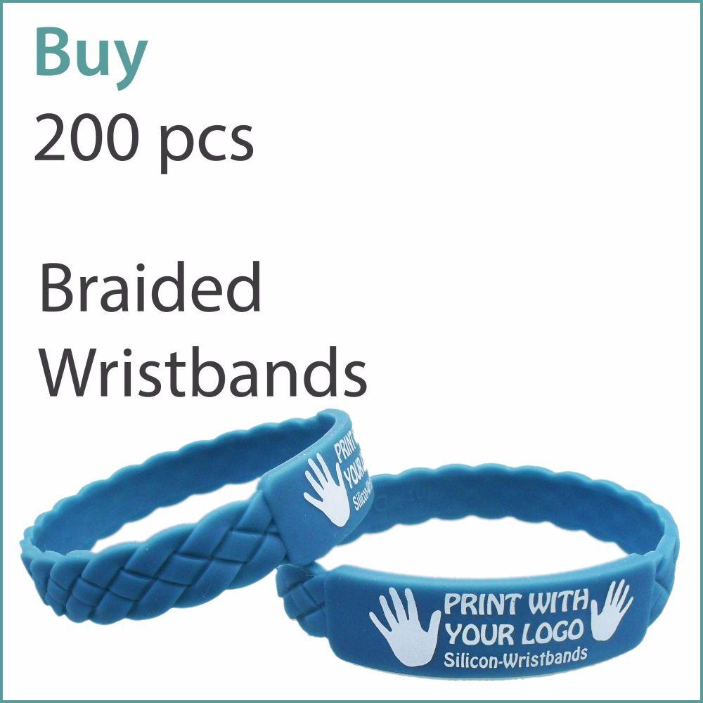 E1) Custom Braided Silicone Wristbands x 200 pcs