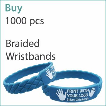 F3) Custom Braided Silicone Wristbands x 1000 pcs