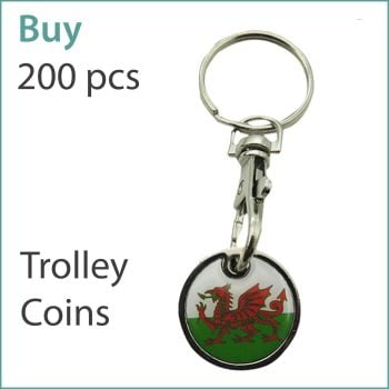 G1) Custom Trolley Coin Keyrings x 200 pcs