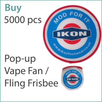 4) Custom Pop-Up Vape Fans / Frisbees x 5000 pcs (£0.75 ea.)