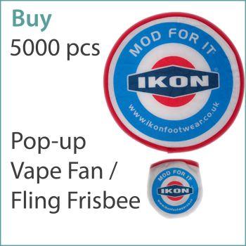 4) Custom Pop-Up Vape Fans / Frisbees x 5000 pcs (£0.75 ea.)