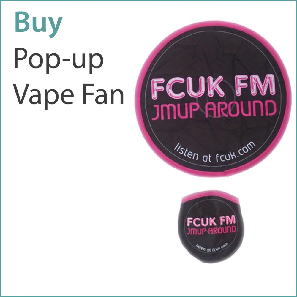 A0) Custom Pop Up Vape Fans / Fling Frisbees