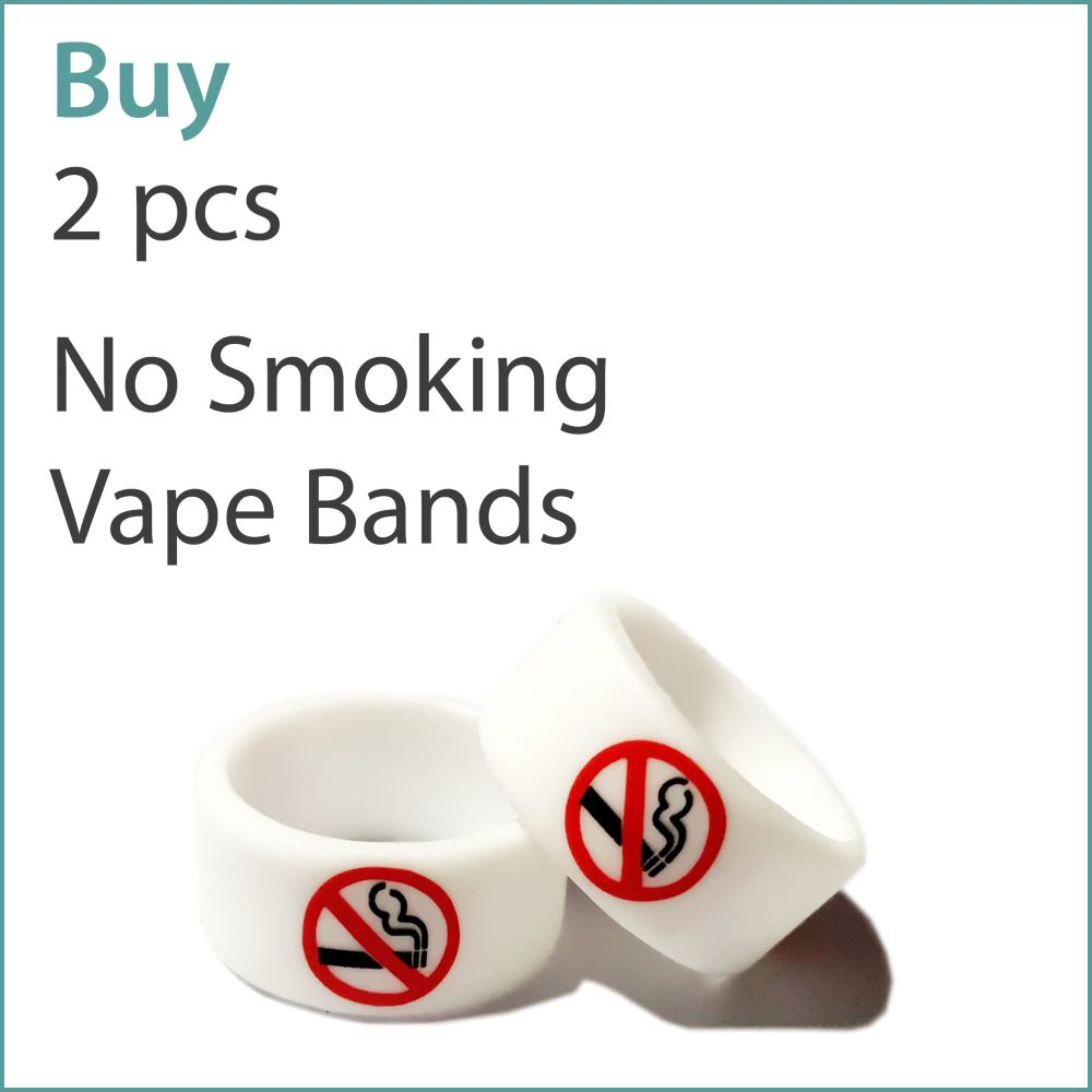 1) Pre-Printed 'No Smoking' Vape Bands x 2 pcs
