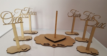 Heart shape alternative guestbook and Table number Set.