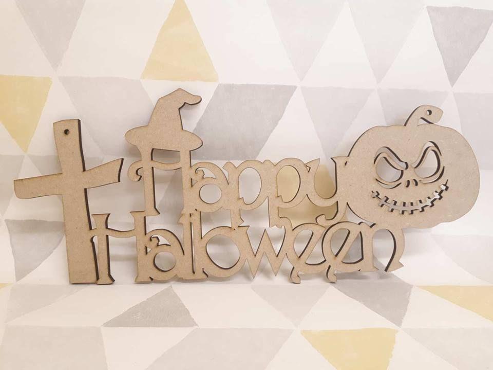 Happy Halloween plaque Cross