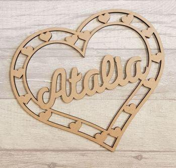 30cm Heart shape name hoop