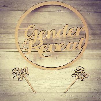 50cm Gender Reveal Hoop and Photo Prop Wands