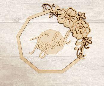 Polygon floral name plaque