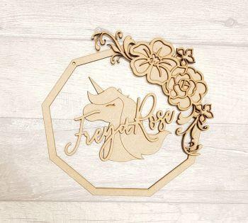 polygon floral unicorn plaque