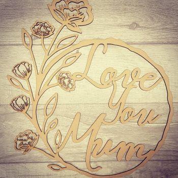 20cm Love you floral plaque