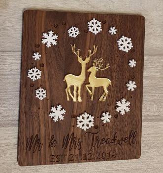 Walnut Veneer Mr & Mrs Christmas Plaque