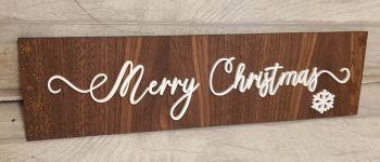 Walnut Veneer Merry Christmas Plaque