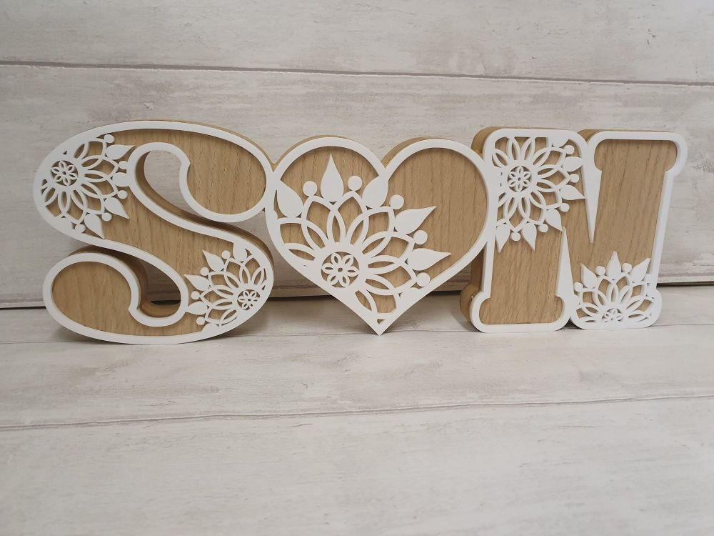 Decorative Love Heart Initials with White Acrylic Front