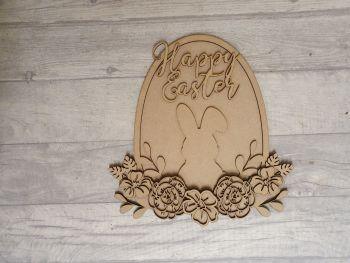 Easter Egg floral bunny plaque