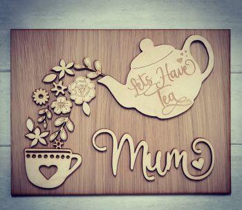 Lets Have Tea Floral Plaque