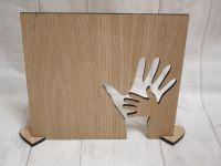Oak Veneer Hand in hand plaque (blank)