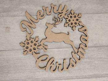 Merry Christmas Reindeer Wreath Plaque