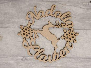 Merry Christmas Reindeer Wreath Plaque (Welsh)