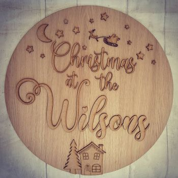 Christmas At The Surname Plaque 30cm