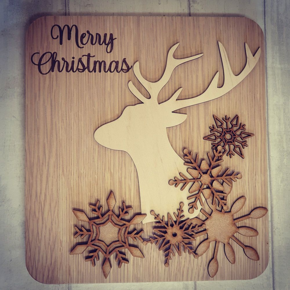 Veneer stag and snowflake layered plaque
