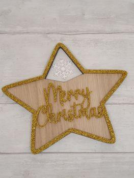 Acrylic & Veneer Merry Christmas Star.