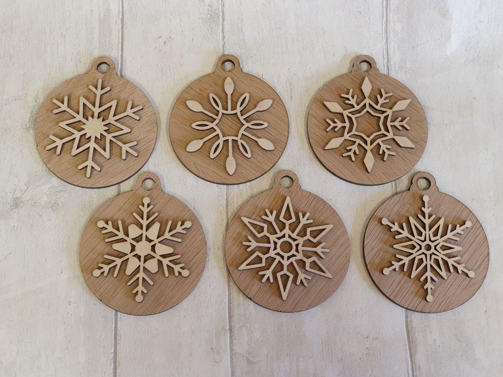 Set of 6 Veneer Snowflake Baubles