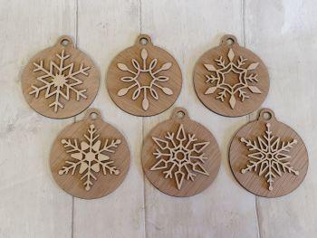 Veneer & Plywood Snowflakes  (set of 6)