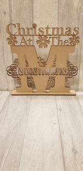 Christmas Monogram Letter Plaque