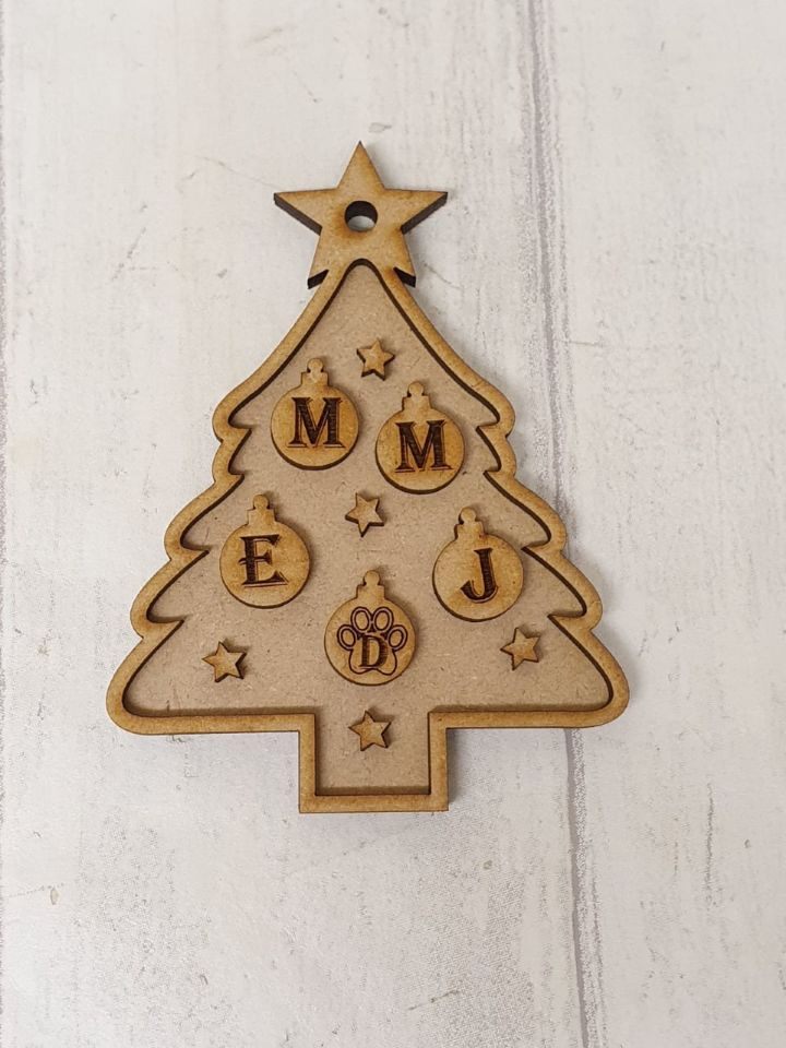 Family Initial Christmas Tree Bauble