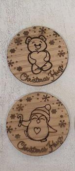 Christmas Hug Token (oak veneer)