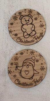 Christmas Hug Token (oak veneer) 100 pack