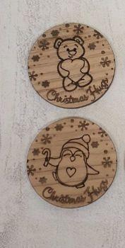 Christmas Hug Token (oak veneer) 20 pack
